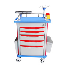 China Hospital Furniture ABS Medical ICU Emergency Trolley Patient Infusion Trolley