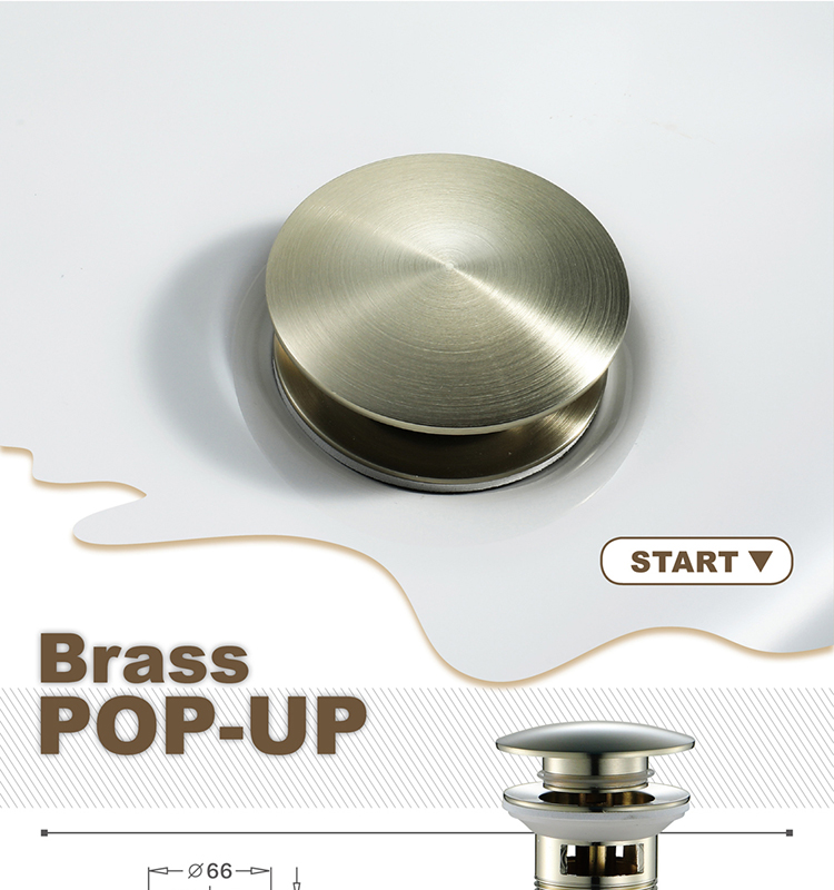 Brushed Chrome Gold Pop Up Drain