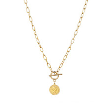 Hiphop Jewelry Stainless Steel Gold Statement Link Choker Coin Chain Necklace for Women Jewellery