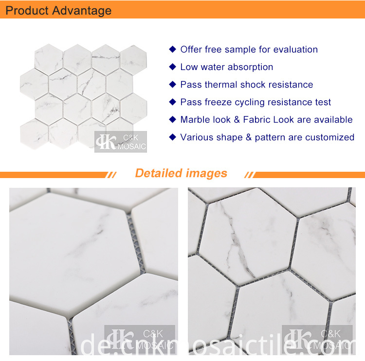 3inch Hexagon glass mosaic tile