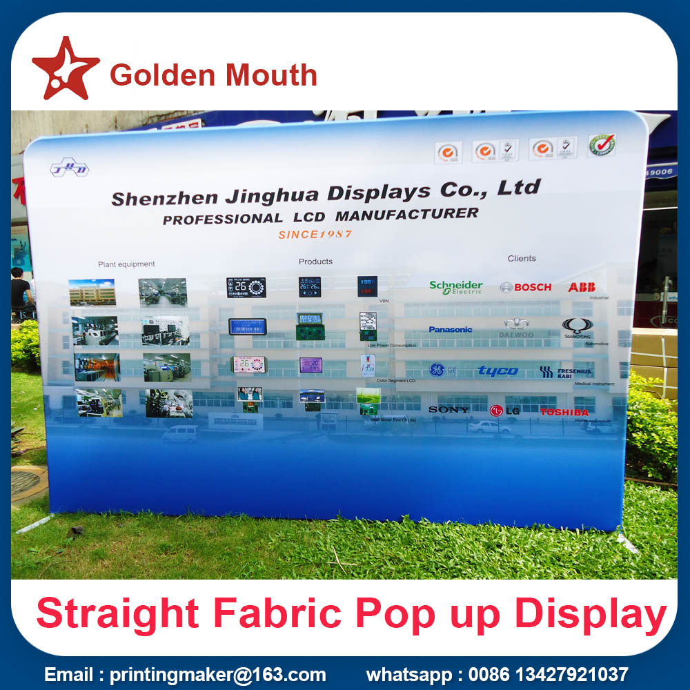 straight fabric pop up display