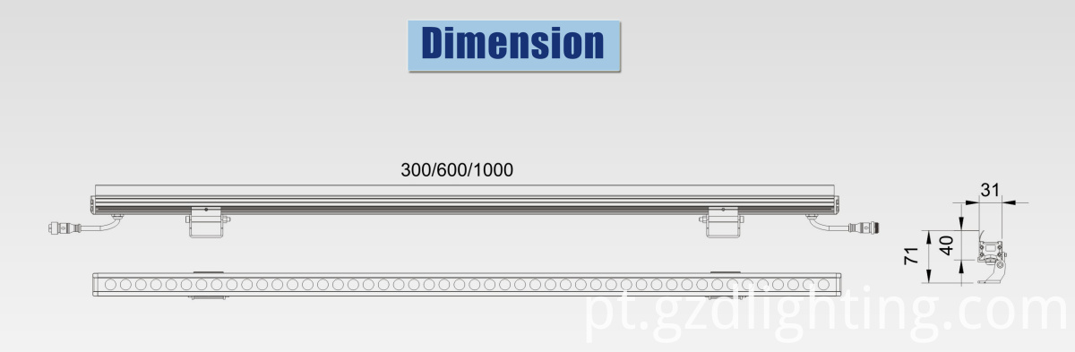 led linear light bar dimension