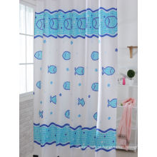 Cortinas de chuveiro de impressão azul para banho