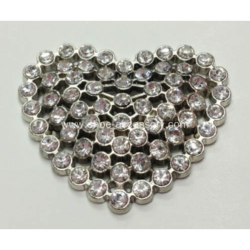 Heart-Shaped Rhinestone Alloy Lady Shoe Buckle