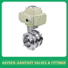 Sanitary Electric 3PCS Welded Butterfly Valve 3A/SMS/ISO/DS