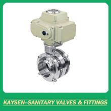 Санитарный электрический 3PCS сварной клапан-бабочка 3A / SMS / ISO / DS
