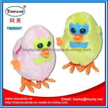 Wind up Double Wing Cartoon Glasses Plush Chicken Toy