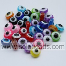Variety of 7*10MM Evil Eye Striped Spacer Beads Bulk