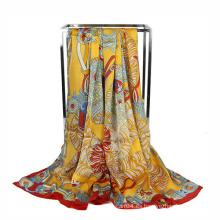 Moda de impresión de gasa publicidad bufanda Cuadrado bufanda
