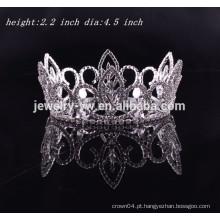 Nupcial tiara casamento acessórios do cabelo rodada completa rhinestone coroa