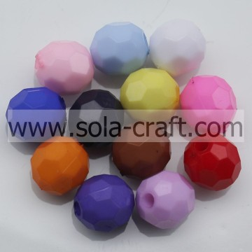 Colorful Ornaments Acrylic Faceted Beads In Loose Gemstone Spacer Glass Round Beads 4MM