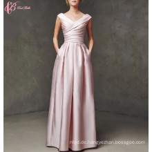 2017 Sexy Frauen eine Linie Pleat Red Floor Lange lange rosa Prom Abendkleid