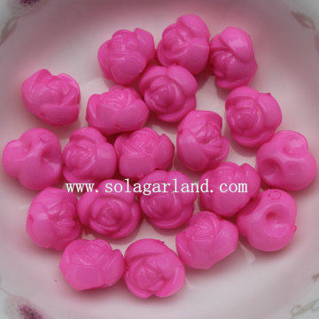 Back Hole Chunky Opaque Acrylic Rose Flower Loose Beads