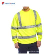 Hola Viz Full Color Crew Safety Sweatshirt Cálido Reflective Strips Mens Work Clothing Jumper Sweat Top