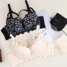 Wholesale embroidered breathable push up sexy lace women bra and panty