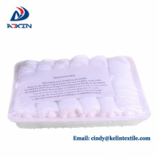 Wholesale Custom Hot Airline Refreshing White Plain Hand Towel Airline refreshing hot towels 100% cotton disposable lemon scented for airplane aviation use