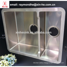 New Arrival cUPC American Low Divide Undermount Stainless Steel Handmade Kitchen Sink with Double Bowl