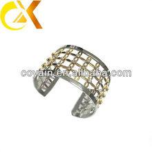 cz stones stainless steel bangle with gold plating