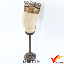 Vintage Style Cream White Head Mannequin with Crown
