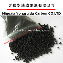 Durable coal based spherical activated carbon for industrial waste gas