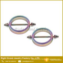 Arco-íris aço cirúrgico titânio chapeado círculo forma mamilo anéis jóia do corpo