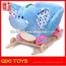 Personalizado logotipo cute regalo felpa elefante mecedora con ruedas