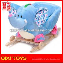 Customized logo cute gift plush elephant rocking chair with wheels