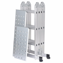 Échelle de rallonge pliante multi positions en aluminium robuste de 12,1 pi Finether avec capacité de 2 panneaux, capacité de 330 lb