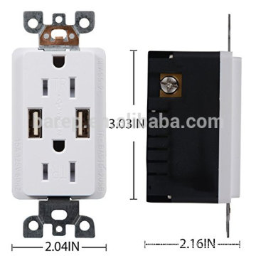 2-Port Rapid Charging USB Wall Outlet Conventional Wall Socket 4.0A