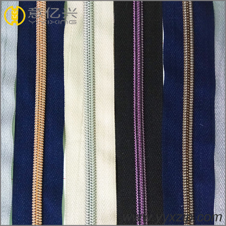 Plating silver Nylon Zipper