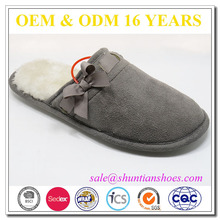 micro suede upper warm plush lining TPR outsole womens winter indoor slipper