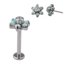 ASTM F136 Titanium  Press Fit Opal CZ Gem Flower  Threadless Top Replaceable Labret Stud Lip Piercing Body Jewelry