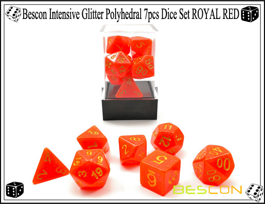 Bescon Intensive Glitter Polyhedral 7pcs Dice Set ROYAL RED-4