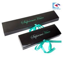 embalagem de extensão de cabelo preto personalizado com fita