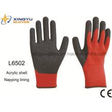 Acrylic Shell Napping Forro Látex Pulgar Totalmente recubierto Acabado arrugado guante de trabajo de seguridad (L6502)