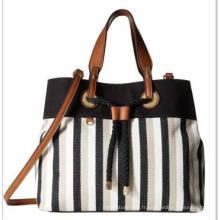 Stripes Jeans Drawstring Closure Lady's Bag Wzx21833