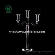 Glass Candle Holder for Home Decoration with Three Posts