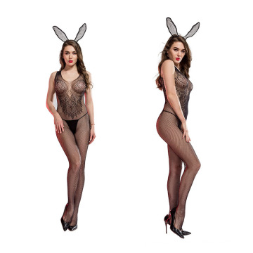 Women sexy lingerie Bunny Lace fishnet backless body stockings