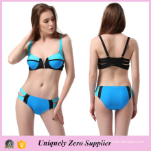 2016 Hotsale Zip Decor Sexy Mix Color Tankinis Swimsuit with Double Shoulder Belts