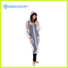 Rvc-160 Lady′s Transparent Long PVC Raincoat