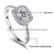 Nuevo estilo novia platino anillos de piedras preciosas