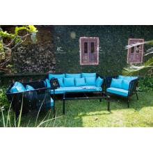 Sofá de mimbre de mimbre de poli conjunto para jardín al aire libre
