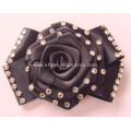 Lady`s Black Dress Shoes Flats Fabric Flower with Rose Flower Center