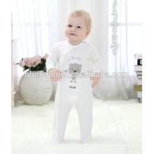 Индивидуальные органического хлопка с длинным рукавом с капюшоном romper младенца младенческой малыша зимние детские комбинезон