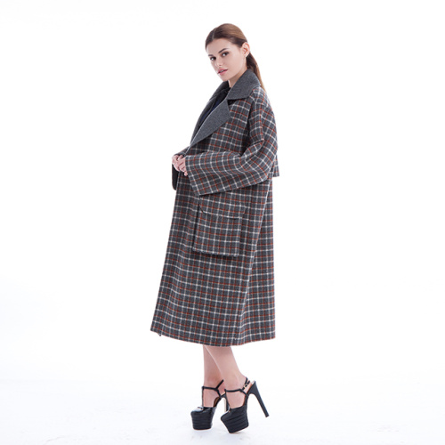Mantello con motivo check in cashmere coreano