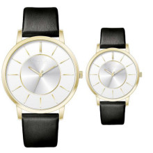 YXL-336 простой дизайн часы кожаный ремешок пара Часы золото покрытием водонепроницаемые женские мужские