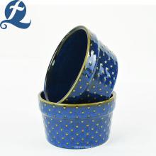 Ensemble de vaisselle en céramique bleue décalque délicat tasse de gâteau de perle ronde