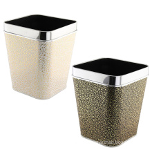 Stainless Steel Rim Square Top Leather Waste Bin
