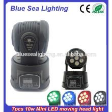 Профессиональный Китай 7 * 10W RGBW dmx 4-в-1 мини светодиодной мыть движущейся головой