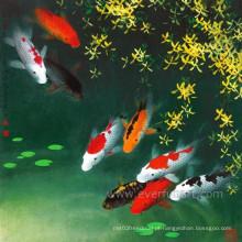 Pintura moderna do óleo dos peixes para a decoração do quarto